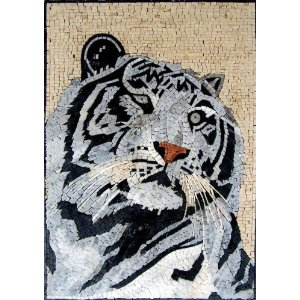 White Tiger Marble Mosaic Wall Art Deco Floor