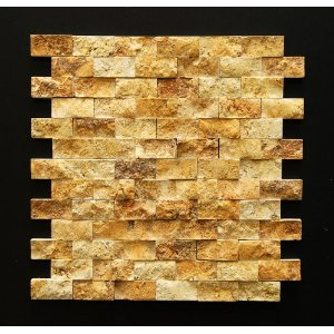 Gold/Yellow 1 X 2 Split Face Travertine Mosaic