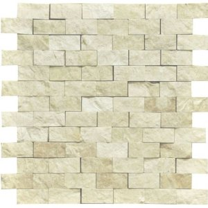 Botticino 1X2 Marble Split-Faced Mosaic Tile