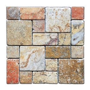 Scabos Travertine 3-Pieced Mini-Pattern Mosaic