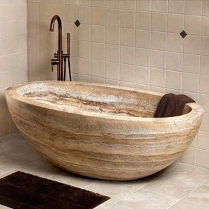 "68"" Flavius Travertine Oval Tub - Silver"