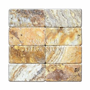 Scabos 3 X 6 Travertine Tumbled Brick Tile - 2 pcs
