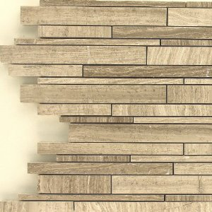 Interlock Wooden Grey Marble Mosaic Backsplash