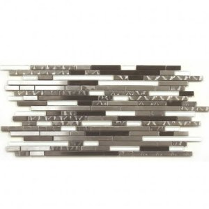 Metal and Super White Random Strips Backsplash