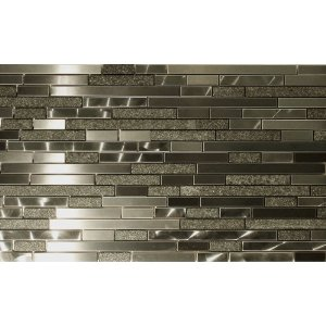Metal and Stone Random Strips Backsplash Tile